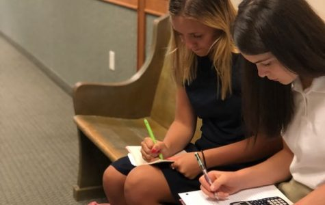 Aleah Maxfield, 10th, and Karina Miner, 10th, study in the AHS high school hallway